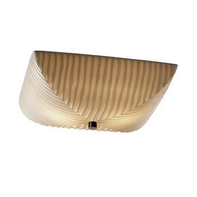 Thora Bowls 3-Light Flush Mount Impression: Pleats, Finish: Antique Brass