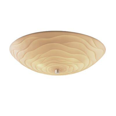 Thora Round Bowls 6-Light Flush Mount Impression: Banana Leaf, Finish: Antique Brass