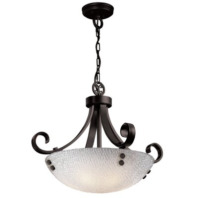 3form 3 Light Bowl Pendant Bulb Type: 18W CFL (Not Included), Base Finish: Matte Black, Shade Finish: Small Tile