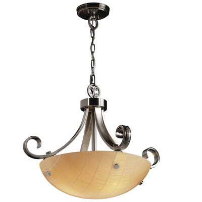 3form 3 Light Bowl Pendant Bulb Type: 18W CFL (Not Included), Base Finish: Brushed Nickel, Shade Finish: Fossil Leaf