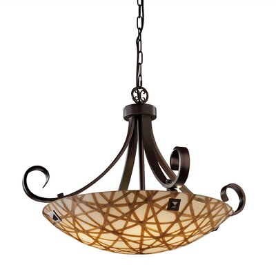 3form 6 Light Bowl Pendant Base Finish: Brushed Nickel, Bulb Type: 65W LED (Included), Shade Finish: Ribbon Twirl