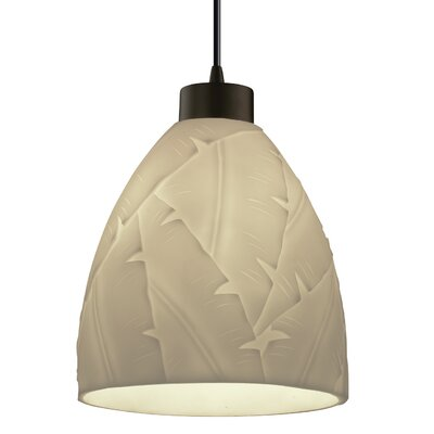 Burberry 1-Light Mini Pendant Finish: Dark Bronze, Shade Color: Banana Leaf