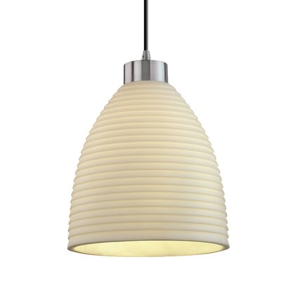 Thora 1-Light Mini Pendant Finish: Brushed Nickel, Shade Color: Banana Leaf