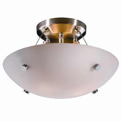 Fusion� Cylindrical Finial 2 Light Semi Flush Mount Shade Color: Opal, Finish: Matte Black