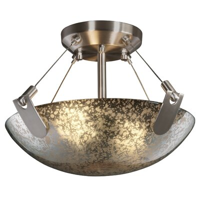 Miguelangel 2-Light Semi Flush Mount Finish: Brushed Nickel, Shade Color: Mercury Glass