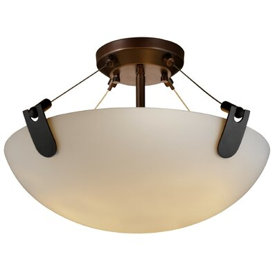 Miguelangel 3-Light Semi Flush Mount Shade Color: Weave, Finish: Dark Bronze