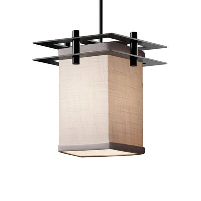 Textile 1 Light Square w/ Flat Rim Mini Pendant Finish: Matte Black, Shade Color: Cream