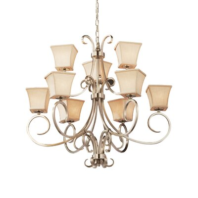Chante 9 Light LED Square Flared Chandelier Finish: Brushed Nickel, Shade Color: Cream