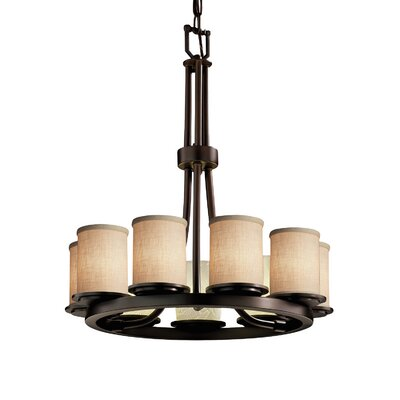 Textile Dakota 9 Light LED Cylinder w/ Flat Rim Mini Chandelier Finish: Brushed Nickel, Shade Color: White