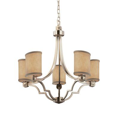 Textile Argyle 5 Light Oval Mini Chandelier Finish: Brushed Nickel, Shade Color: Cream