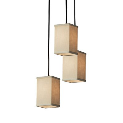 Textile 3 Light Square w/ Flat Rim Cascade Pendant Finish: Matte Black, Shade Color: Cream