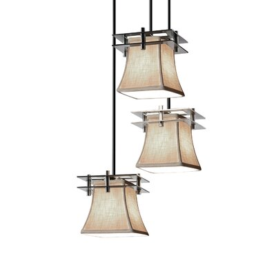Textile Metropolis 3 Light LED Square Flared Cascade Pendant Finish: Polished Chrome, Shade Color: Cream