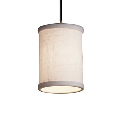 Textile 1 Light Cylinder w/ Flat Rim Mini Pendant Finish: Matte Black, Shade Color: Cream