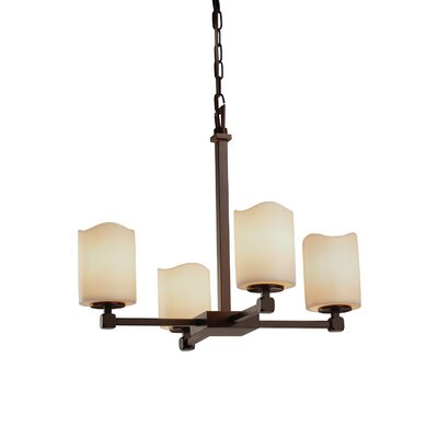 Textile 4 Light LED Rectangle Mini Chandelier Shade Color: Cream, Finish: Dark Bronze