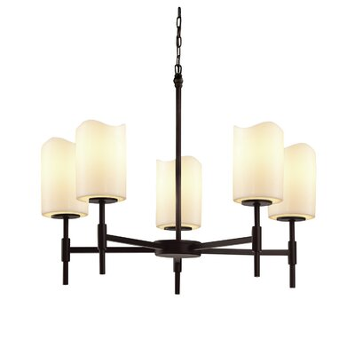 Wantage 5-Light Shaded Chandelier Finish: Matte Black, Shade Color: Amber