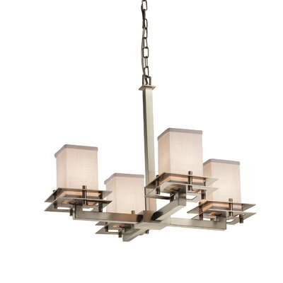 Textile Metropolis 4 Light LED Square w/ Flat Rim Mini Chandelier Shade Color: Cream, Finish: Brushed Nickel