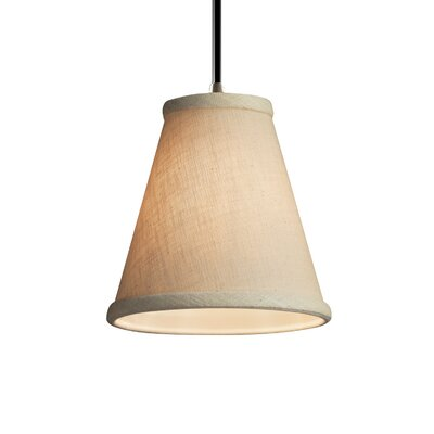 Textile 1-Light Mini Pendant Shade Color: Cream, Finish: Polished Chrome