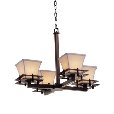 Textile Metropolis 4 Light LED Square Flared Mini Chandelier Finish: Dark Bronze, Shade Color: Cream