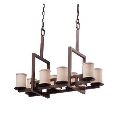 Textile11 Light LED Cylinder w/ Flat Rim Candle Chandelier Finish: Dark Bronze, Shade Color: White