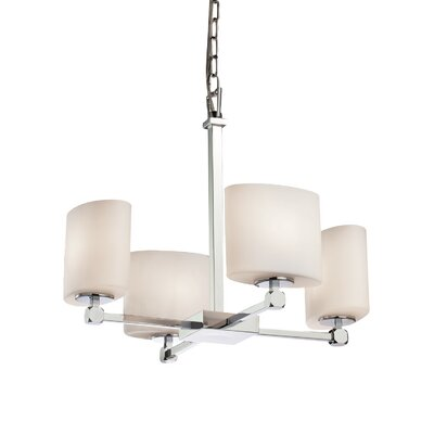 Luzerne 4-Light Shaded Chandelier Finish: Brushed Nickel, Shade Color: Opal