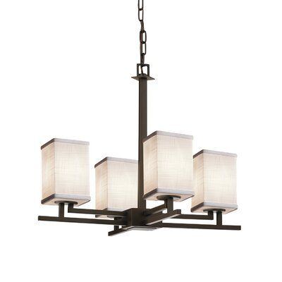Textile Aero 4 Light LED Square w/ Flat Rim Mini Chandelier Finish: Brushed Nickel, Shade Color: Cream