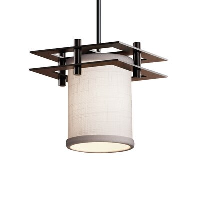 Textile Metropolis 1 Light LED Cylinder w/ Flat Rim Mini Pendant Shade Color: Cream, Finish: Dark Bronze