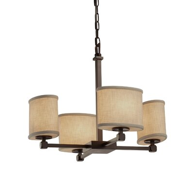 Textile 4 Light Oval Candle Chandelier Finish: Matte Black, Shade Color: Cream