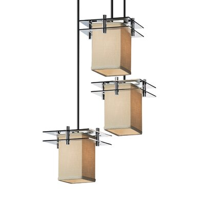 Textile Metropolis 3 Light LED Square w/ Flat Rim Cascade Pendant Shade Color: Cream, Finish: Brushed Nickel