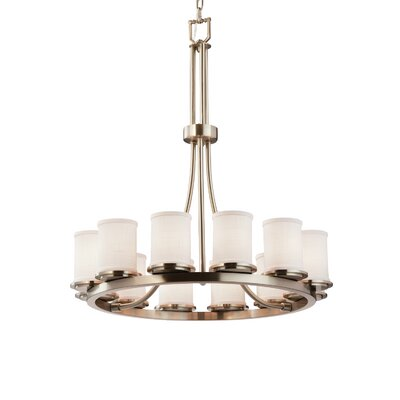 Textile Dakota 12 Light LED Cylinder w/ Flat Rim Chandelier Finish: Brushed Nickel, Shade Color: White