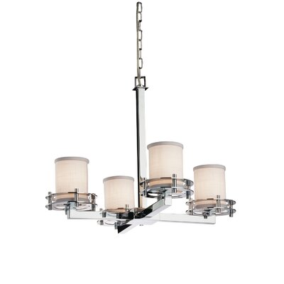 Textile 4-Light Shaded Chandelier Finish: Polished Chrome, Shade Color: Cream