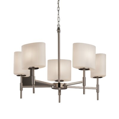 Luzerne 5-Light Shaded Chandelier Finish: Brushed Nickel, Shade Color: Almond