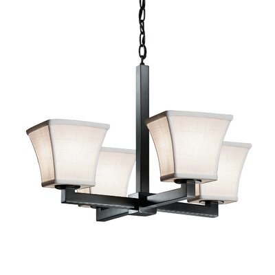 Textile 4 Light LED Square Flared Candle Chandelier Finish: Matte Black, Shade Color: Cream