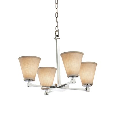 Textile 4-Light Shaded Chandelier Finish: Polished Chrome, Shade Color: White