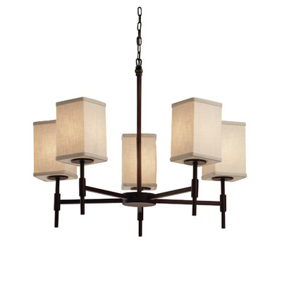 Textile Union 5 Light LED Square w/ Flat Rim Chandelier Shade Color: Cream, Finish: Dark Bronze
