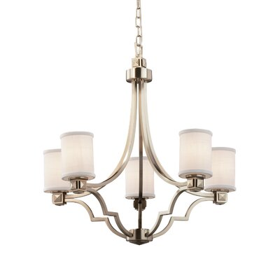 Textile 5 Light LED Cylinder w/ Flat Rim Chandelier Finish: Brushed Nickel, Shade Color: White