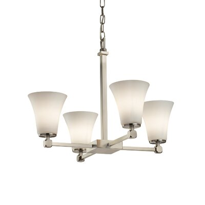 Luzerne 4-Light Shaded Chandelier Finish: Polished Chrome, Shade Color: Opal