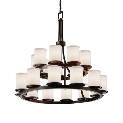 Textile 21 Light LED Cylinder w/ Flat Rim Candle Chandelier Shade Color: Cream, Finish: Matte Black