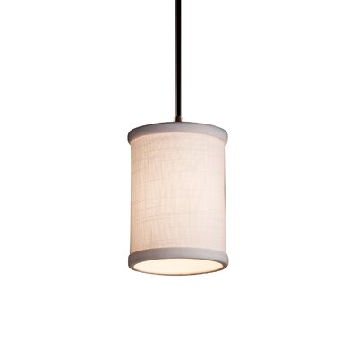 Textile 1 Light Cylinder w/ Flat Rim Mini Pendant Finish: Dark Bronze, Shade Color: White