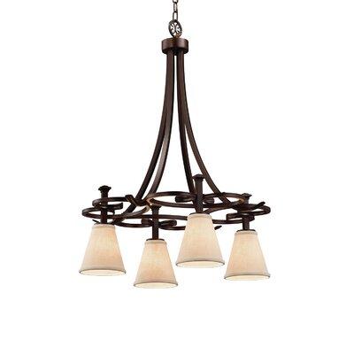 Textile Arcadia 4-Light Shaded Chandelier Finish: Dark Bronze, Shade Color: White