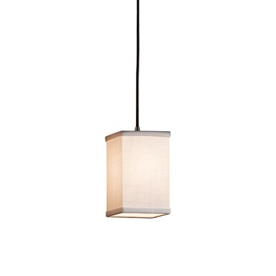 Textile 1 Light LED Square w/ Flat Rim Mini Pendant Finish: Dark Bronze, Shade Color: White