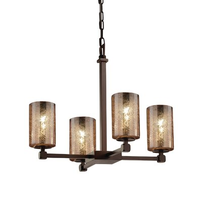 Luzerne 4-Light Shaded Chandelier Finish: Brushed Nickel, Shade Color: Mercury Glass