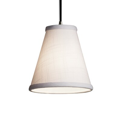 Textile 1-Light Mini Pendant Finish: Antique Brass, Shade Color: Cream