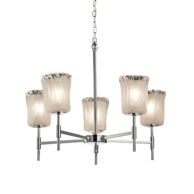 Kelli 5-Light Shaded Chandelier Finish: Brushed Nickel, Shade Color: Whitewash