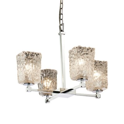 Kelli 4-Light Shaded Chandelier Finish: Matte Black, Shade Color: Clear Textured