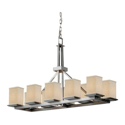 Textile Montana 10 Light LED Square w/ Flat Rim Candle-Style Chandelier Finish: Brushed Nickel, Shade Color: White