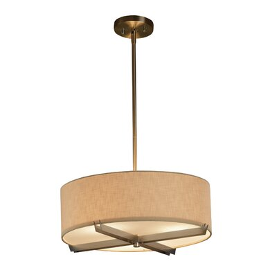 Textile 3 Light Drum Pendant Shade Color: Cream, Finish: Brushed Nickel