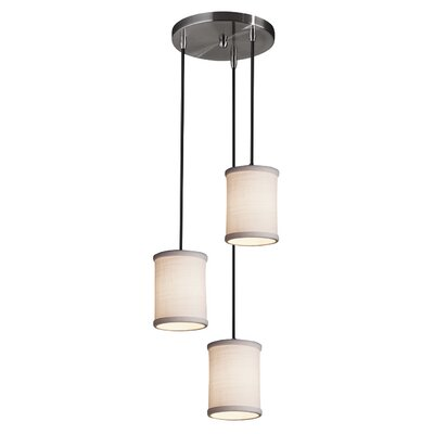 Textile 3 Light LED Cylinder w/ Flat Rim Cascade Pendant Shade Color: White, Finish: Brushed Nickel