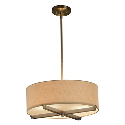 Textile Crossbar 3-Lights Drum Pendant Shade Color: Cream, Finish: Brushed Nickel