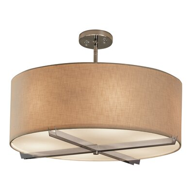 Textile Crossbar 6-Light Drum Pendant Finish: Brushed Nickel, Shade Color: Cream