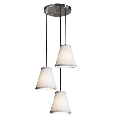 Textile 3-Lights Cascade Pendant Finish: Brushed Nickel, Shade Color: White
